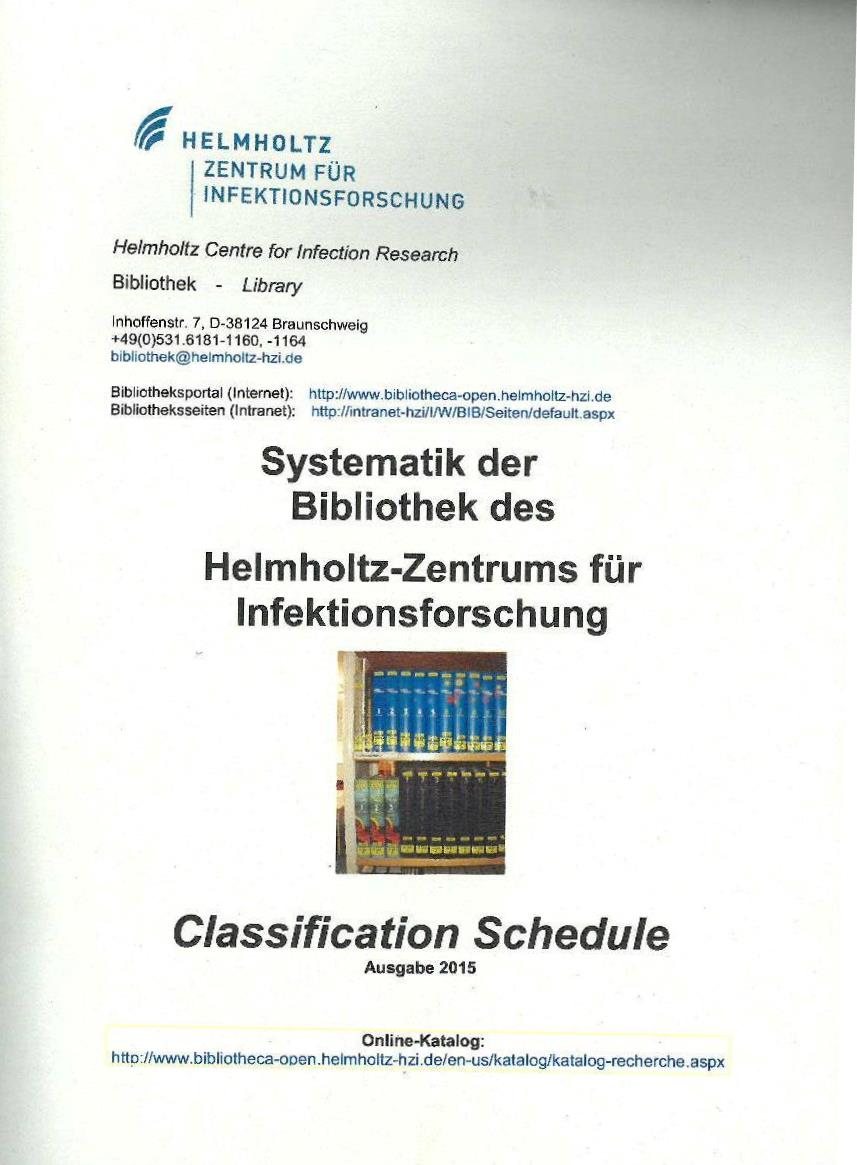 Classification Schedule of HZI Library